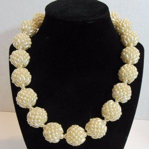 Unmarked Faux Pearl Balls Necklace Fashion Jewelry